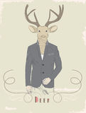 Vintage illustration of a deer in a suit Stock Image