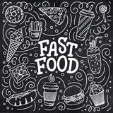 Vintage illustration with fast food doodle elements and lettering on background for concept design. Vector illustration for any. Vintage illustration with fast stock photo