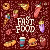 Vintage illustration with fast food doodle elements and lettering on background for concept design. Vector illustration for any. Vintage illustration with fast royalty free stock photos