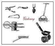 Vintage illustration, gardening and agriculture equipments Royalty Free Stock Photos