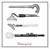 Vintage illustration, gardening and horticulture utensils Royalty Free Stock Photos