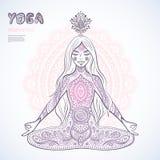 Vintage  illustration.  girl in a meditation pose Royalty Free Stock Images