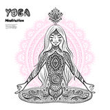 Vintage  illustration.  girl in a meditation pose Stock Photos