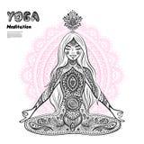 Vintage  illustration.  girl in a meditation pose Stock Photos
