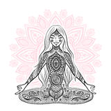 Vintage  illustration.  girl in a meditation pose Royalty Free Stock Image