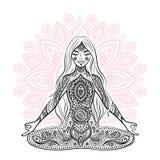Vintage  illustration.  girl in a meditation pose Royalty Free Stock Image