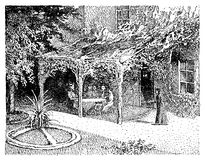 Vintage illustration, house with garden and pergola and beautifu Royalty Free Stock Photo