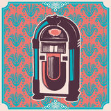 Vintage illustration with jukebox. Vintage illustration with jukebox in color stock illustration