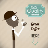 Vintage illustration of a man with coffee and quality label Stock Images