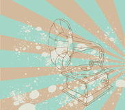 Vintage illustration with music gramophone. Hand drawing. Retro sketch style vector illustration royalty free illustration