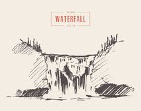 Free Vintage Illustration Of Beautiful Waterfall Drawn Royalty Free Stock Photography - 90259247