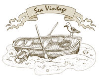 Vintage illustration with old boat Royalty Free Stock Photography