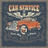 Vintage illustration, poster with of red retro car. In engraving style. Template, design element for advertising retro car service center, spare parts shop and vector illustration