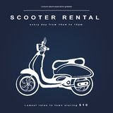 Vintage illustration with a retro scooter Royalty Free Stock Images