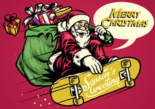 Vintage illustration santa ride skateboard and carrying a bag fu Stock Photo