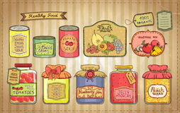 Vintage illustration set of canned goods and tags. Stock Image