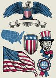 Vintage illustration set of object of USA royalty free stock images