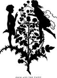 Vintage Illustration silhouette Shakespeare Midsummer Nights Dream Royalty Free Stock Photography