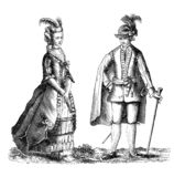 Sweden traditional outfits, old print. Vintage illustration, Sweden man and woman national traditional costumes in 1778 vector illustration