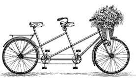 Vintage Illustration tandem bicycle bike cycle Stock Photo