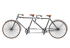 Vintage Illustration of tandem bicycle over white background vec Royalty Free Stock Image