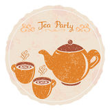 Tea party. Vintage illustration of tea set with cups of tea Stock Image