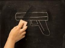 Vintage illustration wiping gun, erase violence Royalty Free Stock Images