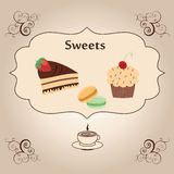 Vintage illustration with yami sweets and coffee. Vintage frame with cupcake, macaroons, piece of chocolate cake, cup of coffee in vector illustration Royalty Free Stock Photography