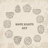 Vintage illustrations of nautical rope knots collection Royalty Free Stock Photos