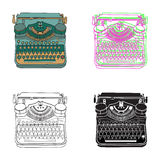 Vintage  illustrations of retro typewriter Royalty Free Stock Photos