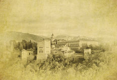Vintage image of  of Alhambra palace, Granada, Spain Stock Photo