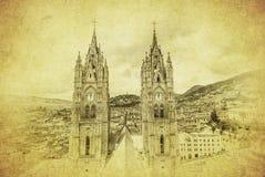 Vintage image of Basilica del Voto Nacional, Quito, Ecuador Royalty Free Stock Photo
