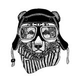 Vintage Image of Bear for t-shirt design for motorcycle, bike, motorbike, scooter club, aero club. Hand drawn picture Stock Image
