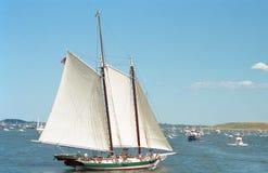 Vintage image of boats waiting for the Parade of Sail to begin at 2000 Sail Boston stock photos