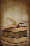 Vintage image of books with texture effect filter applied with w Royalty Free Stock Photo