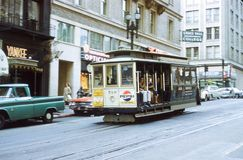 Vintage 1965 Image of a Cable Car in San Francisco, CA. Image taken from color slide royalty free stock photography