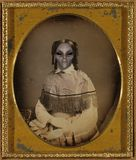 Vintage Space Alien Woman Portrait. Vintage image courtesy Library of Congress from their copyright free collection. No property release required. Edited to be a Royalty Free Stock Photo