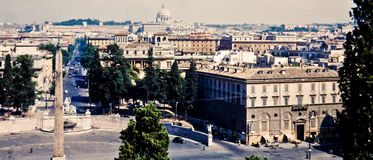 Vintage image of downtown Rome, Italy. Royalty Free Stock Photo