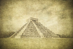Vintage image of El Castillo or Temple of Kukulkan, Chichen Itza Royalty Free Stock Images