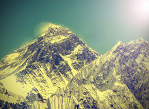 Vintage image of Everest Mountain. Royalty Free Stock Photos