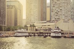 Vintage image of the ferry berth on Ontario lake. Royalty Free Stock Images