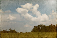 Vintage image of a field and cloudy sky Stock Images