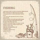 Vintage image of Fishing rod and fishes.Vector dra Stock Photo