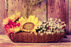 Vintage image of flowers on a basket Royalty Free Stock Photo