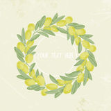 Vintage image frame of olive branches, wreath, place for text. vector illustratio Royalty Free Stock Photography