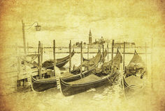 Vintage image of Gondolas at Grand Canal, Venice, Italy Stock Image