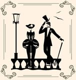 Vintage image of lady and man. Outlines retro lady and men Royalty Free Stock Photography
