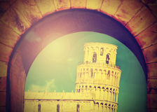 Vintage image of Leaning tower of Pisa. Royalty Free Stock Photo