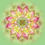 INDIAN MANDALA FLOWER. PASTEL COLORS PALLET. BRIGHT IMAGE. PLAIN LIGHT GREEN BACKGROUND CENTRAL FLOWER IN GREEN, BROWN, PINK, royalty free illustration