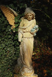 Vintage image of a sad angel on a cemetery against the backgroun Royalty Free Stock Image